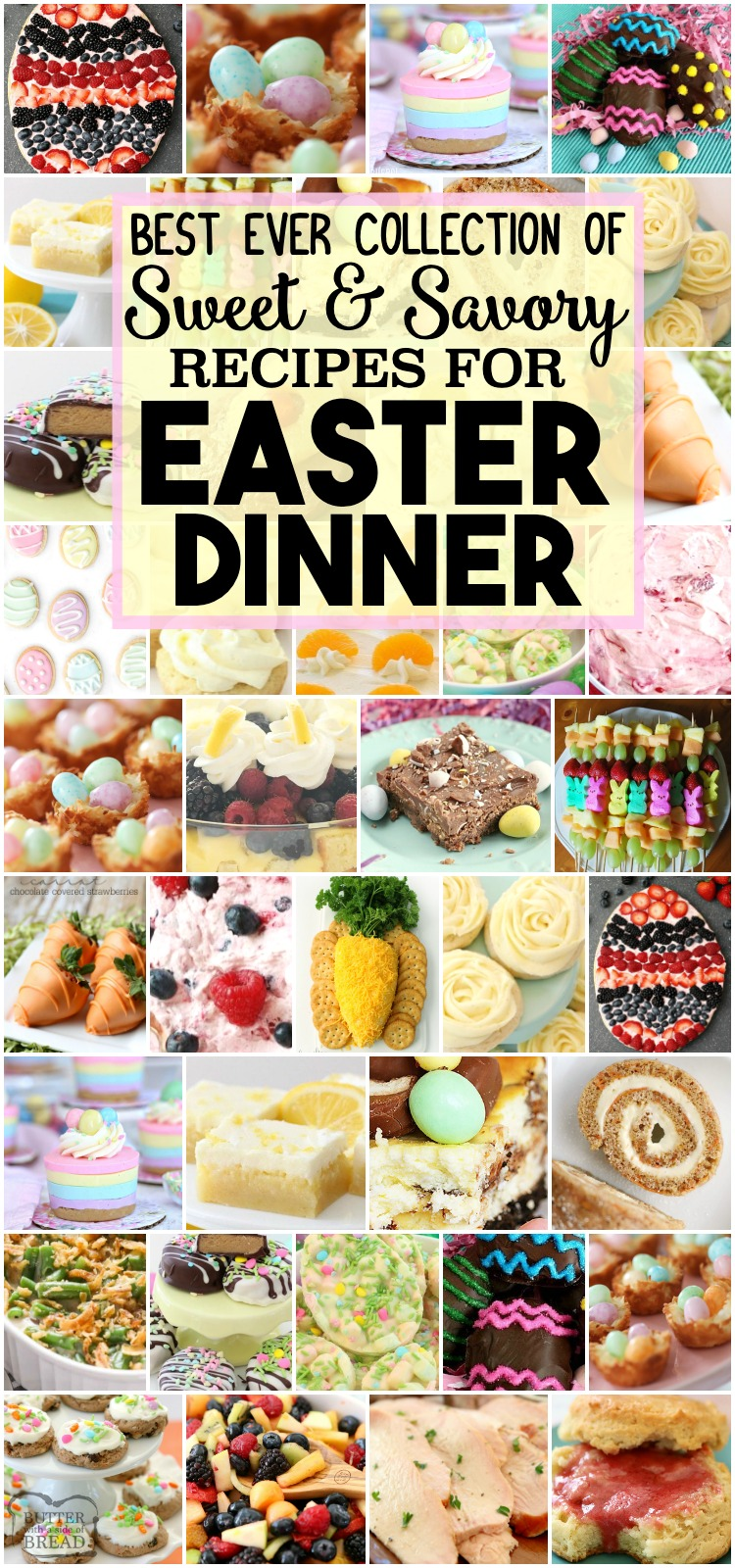 Best Easter Dinner Recipes: tried and true easy Easter Dinner Recipes with everything from slow cooker ham to Orange Cream Fruit Salad, Banana Cream Pie Cookies, Pecan Grape Salad and more. All the Easter dinner recipes you need for a delicious, festive holiday are here. #Easter #dinner #recipes #Spring #ham #fruitsalad #recipes from BUTTER WITH A SIDE OF BREAD