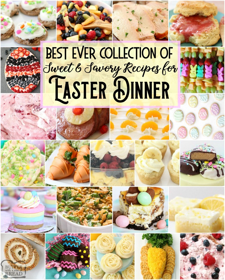 Best Easter Dinner Recipes: tried and true easy Easter Dinner Recipes with everything from slow cooker ham to Orange Cream Fruit Salad, Banana Cream Pie Cookies, Pecan Grape Salad and more. All the Easter dinner recipes you need for a delicious, festive holiday are here.