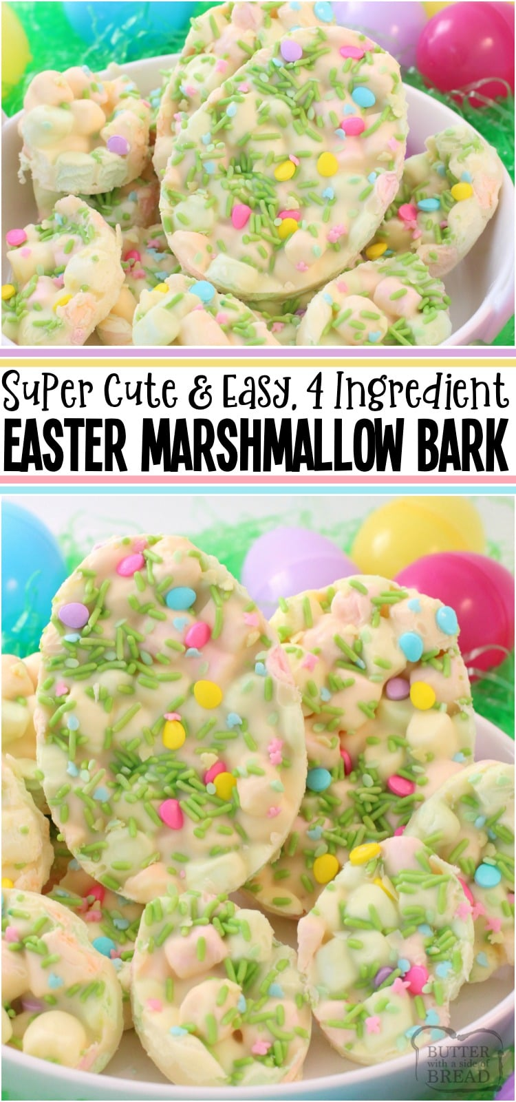 Easter Marshmallow Bark is one of my favorite Easter desserts! Just 4 ingredients and a few minutes to make this cute and festive Easter treat. Everyone enjoys our Easter Marshmallow Bark! #Easter #Dessert #whitechocolate #marshmallows #pastel #candy #recipe from BUTTER WITH A SIDE OF BREAD