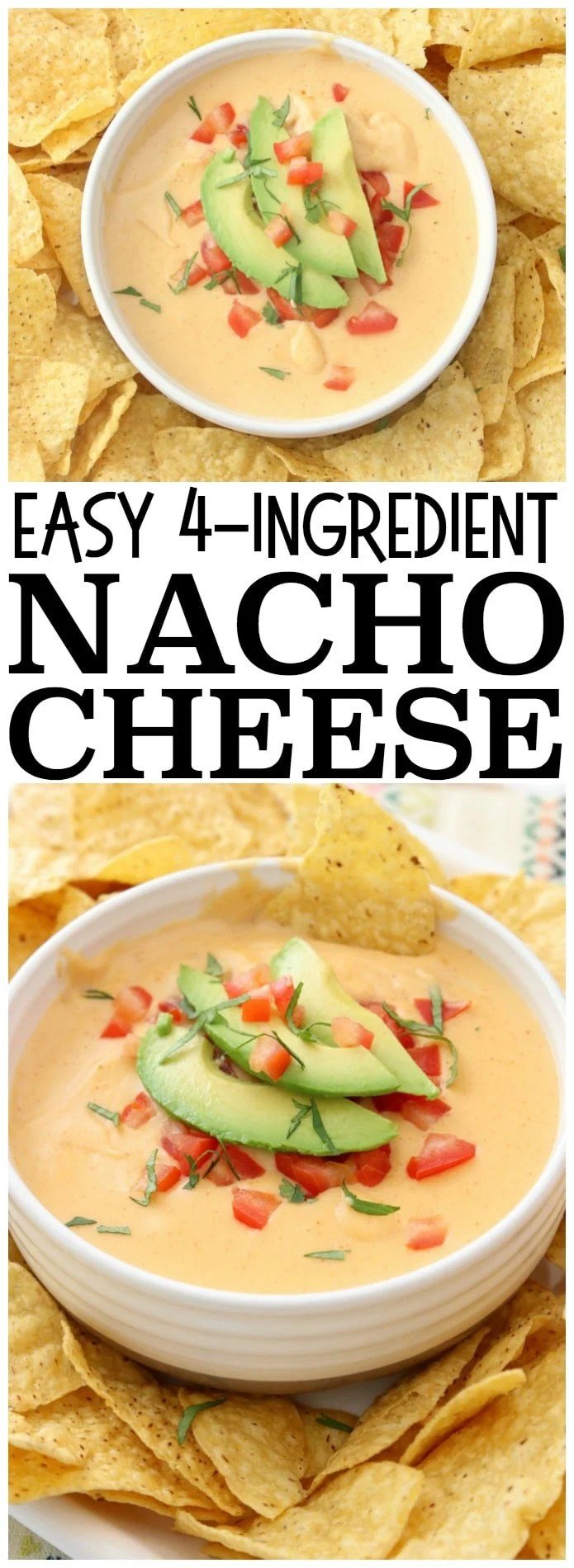 Easy Nacho Cheese sauce recipe with only 4 ingredients and is made in minutes! Smooth, creamy with great nacho cheese flavor, this appetizer recipe is perfect for parties, busy weeknight dinners and game day food!