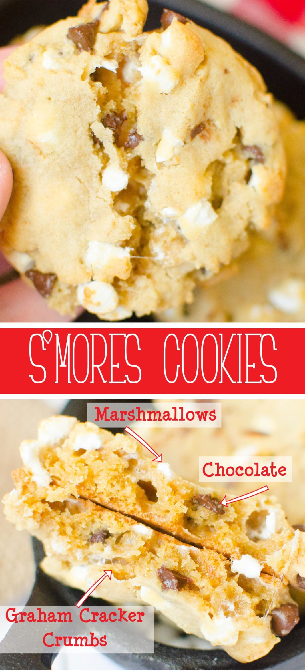 S'mores Cookies will take you right to the campfire! Graham Cracker crumbs, marshmallow bits, chocolate chips with just enough dough to hold it all together. You'll have S'mores right from your oven! #Cookie #recipe from Butter With A Side of Bread #smores #chocolate #marshmallow #campfire #dessert #food