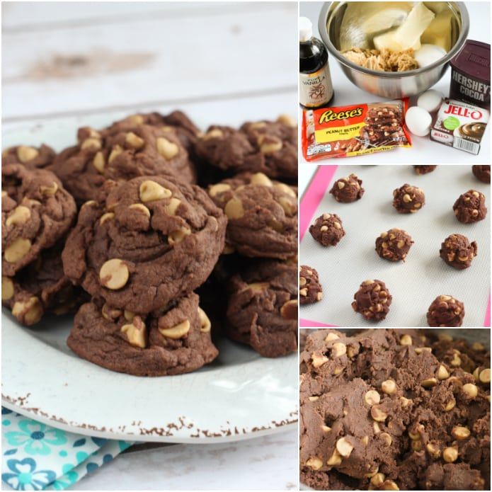 Step by step photos of how to make Peanut Butter Chip Chocolate Cookies