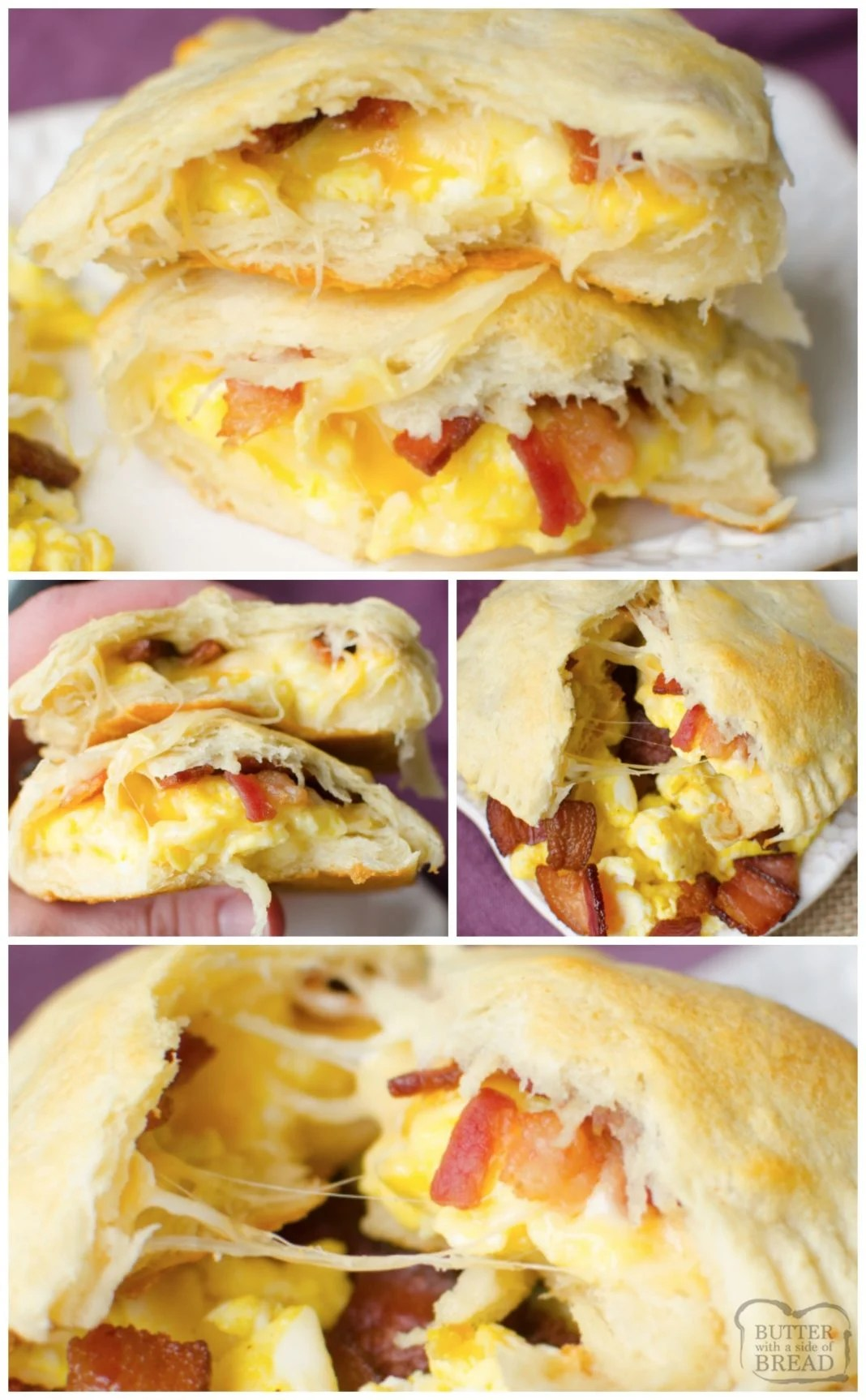 Bacon, Egg and Cheese Baked inside Crescent Dough for an easy breakfast recipe idea.