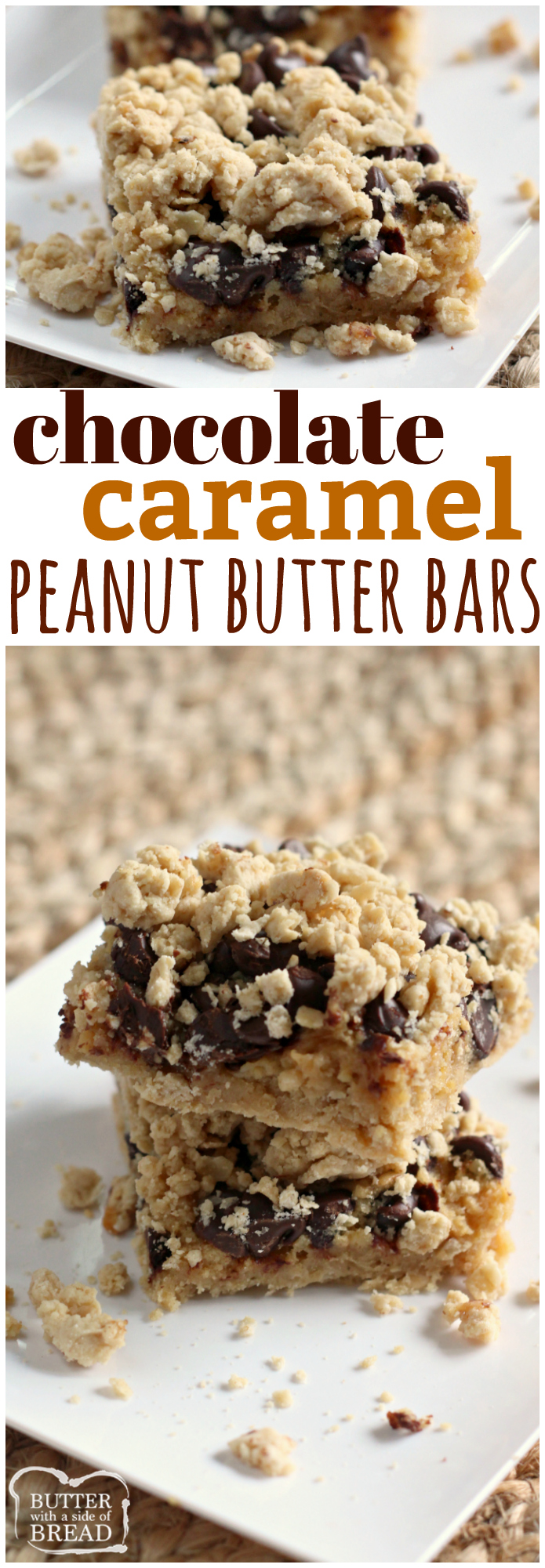 Chocolate Caramel Peanut Butter Bars begin with a cake mix and end with peanut butter, caramel topping, cream cheese, and chocolate! These amazing dessert bars combine all of your favorite flavors in one delectable treat!
