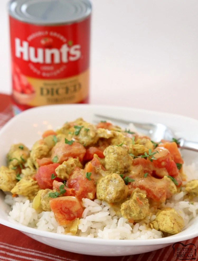 """[adthrive-in-post-video-player video-id=""""1CTz2Tfp"""" upload-date=""""2018-11-02T19:11:49.000Z"""" name=""""Chicken Coconut Curry"""" description=""""Coconut Chicken Curry recipe perfect for a busy weeknight meal! Simple, flavorful and healthy 20-minute chicken dinner for anyone who loves a mild chicken curry. Our Coconut Curry Chicken recipe uses diced chicken, tomatoes, coconut milk and just enough curry to add flavor, but not make it too spicy."""""""