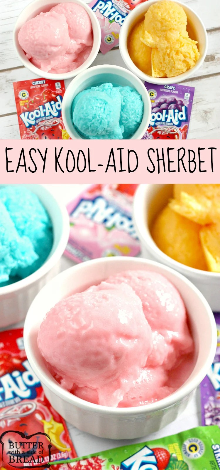 Easy Kool-Aid Sherbet is a delicious frozen treat that is made with only three ingredients! You can make strawberry sherbet, orange sherbet, watermelon sherbet - any flavor you want!