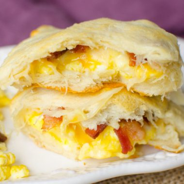 Eggs and Bacon inside of a dough pocket to make a easy breakfast in the mornings.