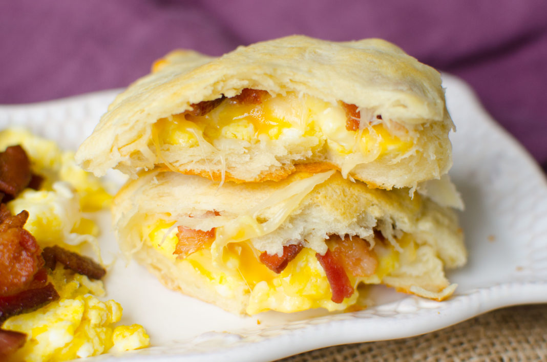 Eggs, Bacon and Cheese Breakfast inside of a dough pocket to make a easy breakfast in the mornings.