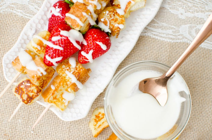 The homemade vanilla glaze takes the French Toast Fruit Kabobs to the next level, adding a sweet element to the kabob.