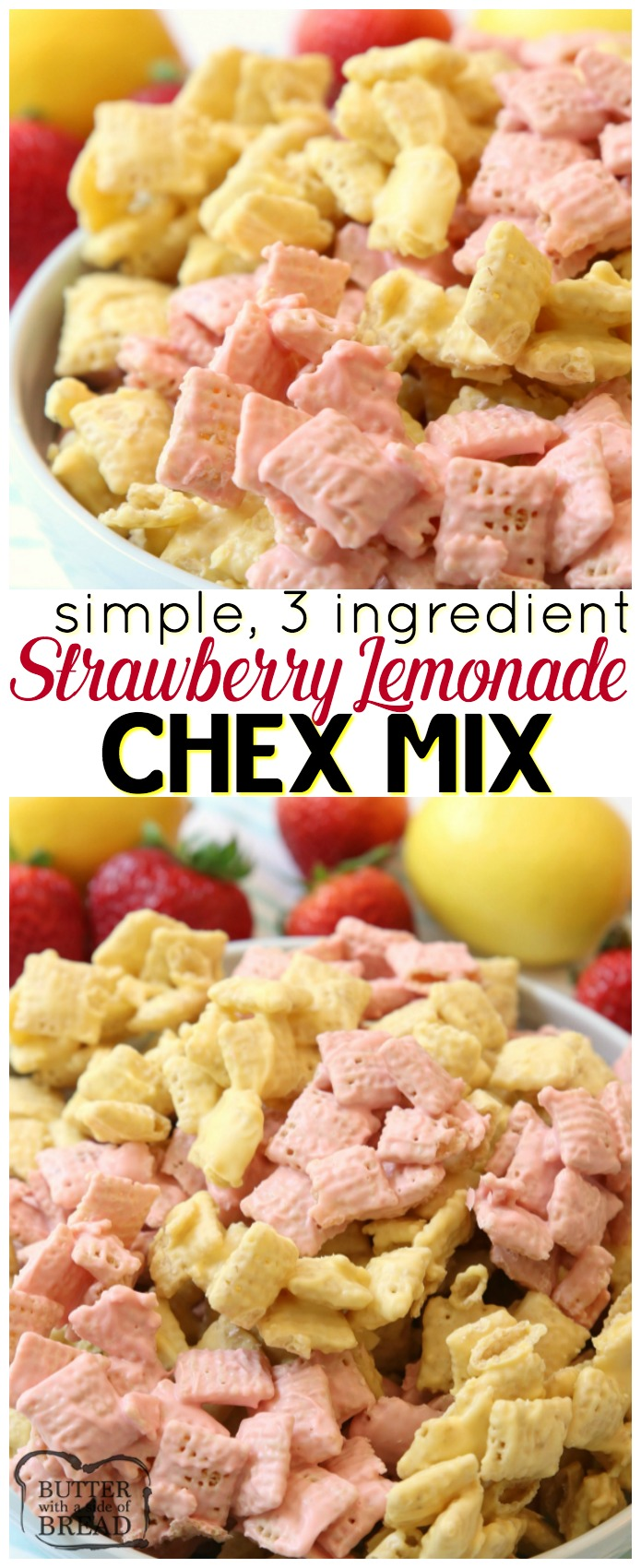 Strawberry Lemonade Chex Mix made easy in under 10 minutes with just 3 ingredients! Great flavor and everyone loves munching on this fun Chex Mix. Simple Chex mix recipe with strawberry lemon flavors perfect for any day that needs a little more fun! #chex #chexmix #strawberry #lemonade #dessert #candy #candymelts #recipe from Butter With A Side of Bread