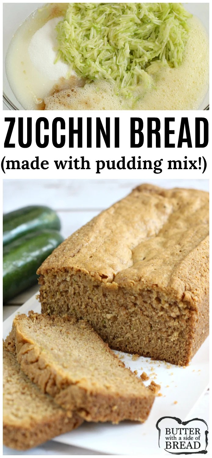 This delicious Zucchini Bread recipe is slightly different than most - it has vanilla pudding mix in it! The pudding adds a fabulous flavor and helps to keep the bread moist and perfect every time! You've got to try this!