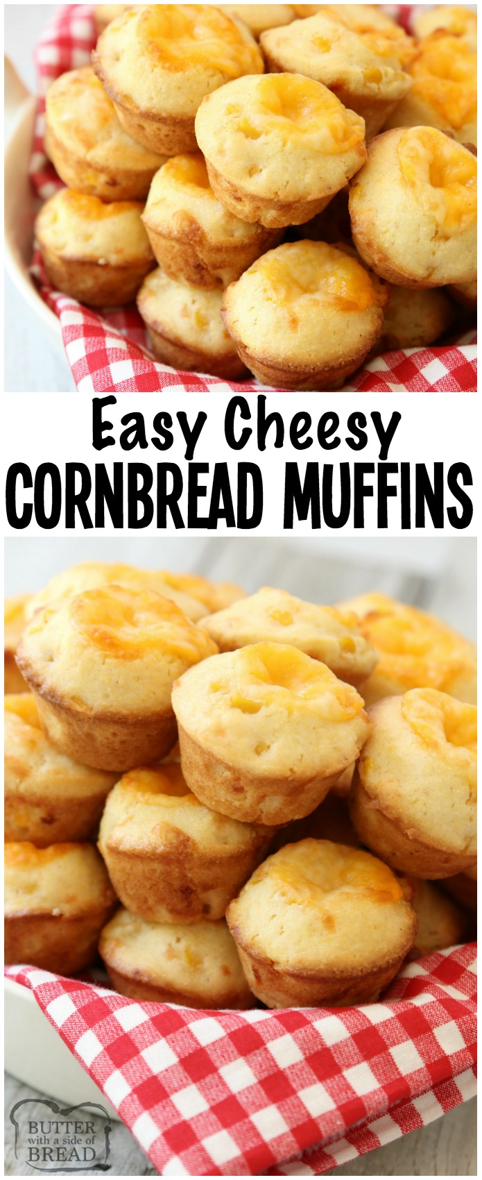 Cheesy Cornbread Muffins are delicate, flavorful honey cornbread with a cheddar cheese addition! Fun, bite-sized mini cornbread muffin recipe perfect for accompanying lunch or dinner any time of the year!