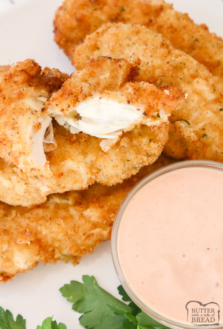 Best Chicken Tenders recipe for tender, juicy & flavorful chicken. Two simple tips to take your chicken strips from good to great! Shows how to make chicken tenders from scratch!