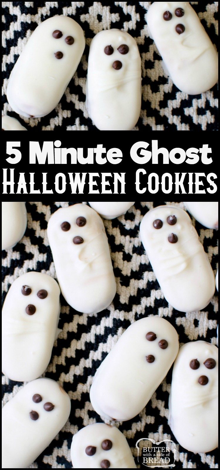 3 Ingredient Easy Ghost Halloween Cookies are a cute and festive treat! Made in minutes & devoured in seconds, these easy Halloween cookies are a hit! Simple, 5 minute recipe with only 3 ingredients! #halloween #ghosts #cookies #recipe #party #food from BUTTER WITH A SIDE OF BREAD