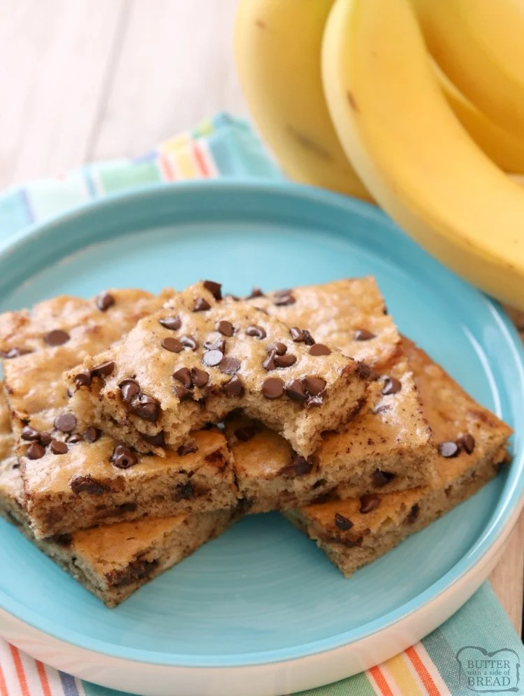 Chocolate Chip Banana Bars Butter With A Side Of Bread