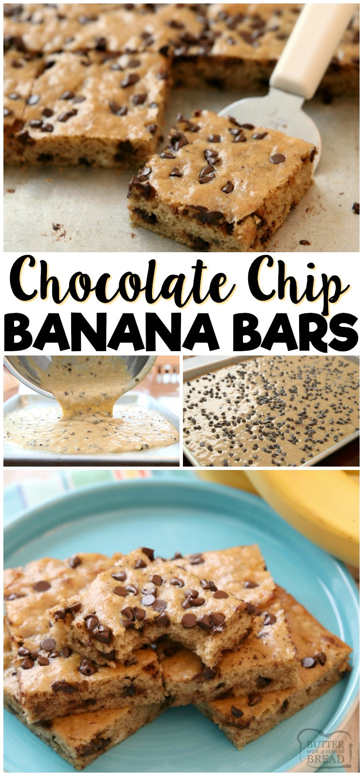 Chocolate Chip Banana Bars are a simple & delicious ripe banana recipe that's even better than banana bread! Great for breakfast, lunch and even dessert! Check out all the 5 star reviews- everyone raves about these Chocolate Chip Banana Bars! #banana #recipe #dessert #chocolatechip #ripebananas #bananas #baking #bananabread from BUTTER WITH A SIDE OF BREAD
