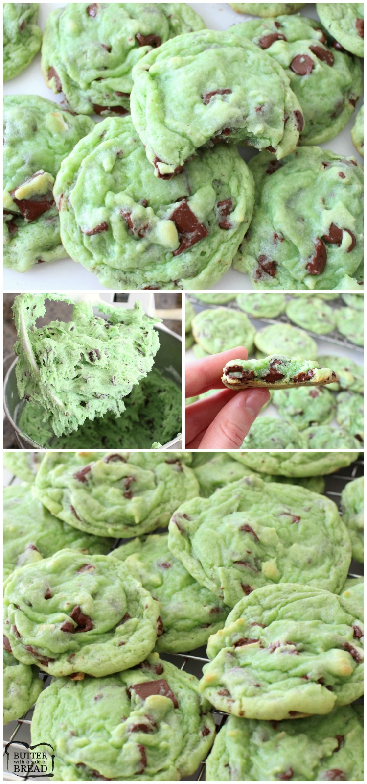 Mint Chocolate Chip Cookies made with pudding mix, mint extract & chocolate chips. Lovely cookie recipe perfect for those who love mint chip ice cream! #mint #chocolate #cookies #green #mintchip #dessert #StPatricksDay #dessert