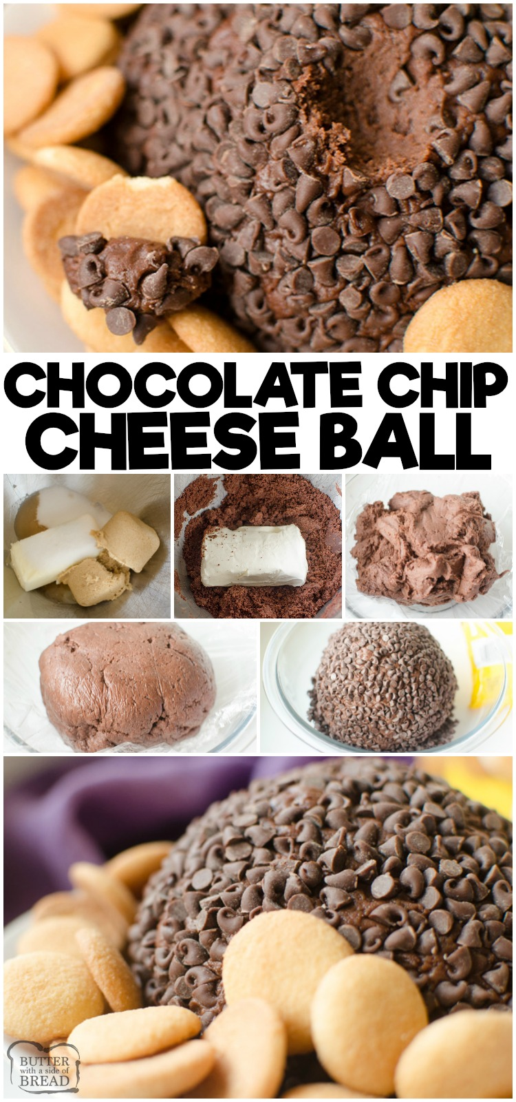 Double Chocolate Chip Cheese Ball is a rich, twice the chocolate cheesecake turned into a sweet cheese ball! The rich chocolate batter combined with the tangy cream cheese then rolled in mini chocolate chips makes this a rich and delicious appetizer or dessert!