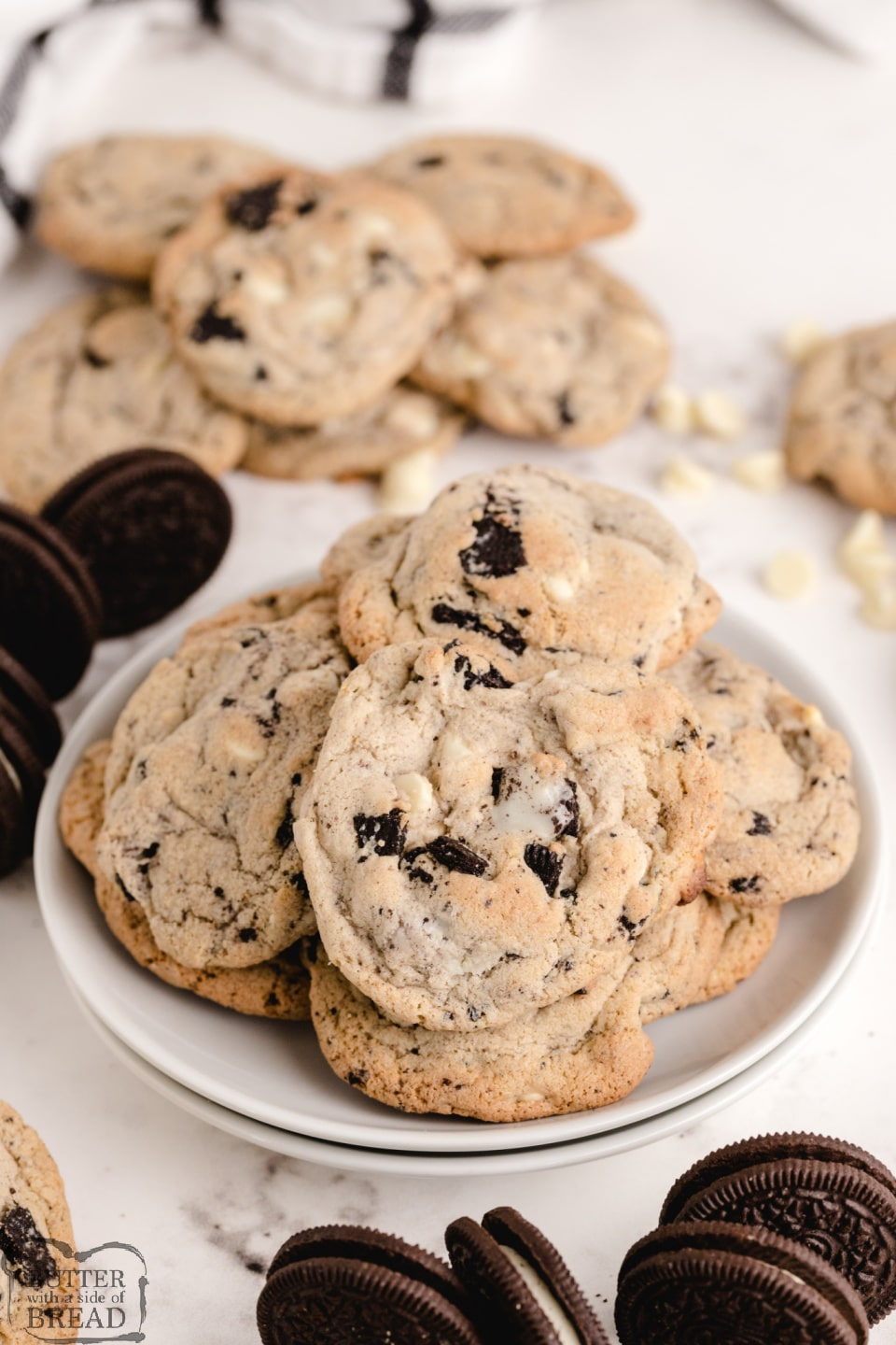 Cookies & Cream Cookies are made with Oreo pudding mix, white chocolate chips and chunks of Oreo cookies. This delicious cookie recipe yields perfectly soft and chewy cookies every time!