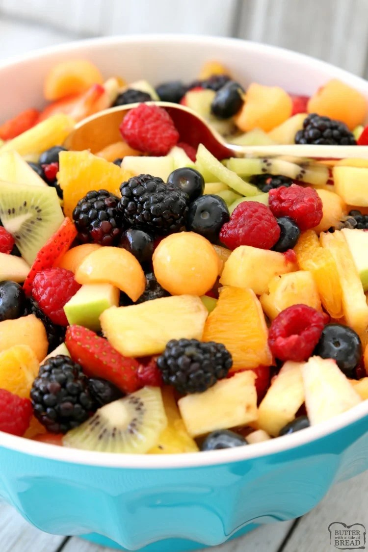 Fancy Fruit Salad is a lovely fruit salad recipe perfect for parties and get-togethers. The sweet, honey lemon glaze enhances flavors & keeps the fruit colors bright and vibrant.