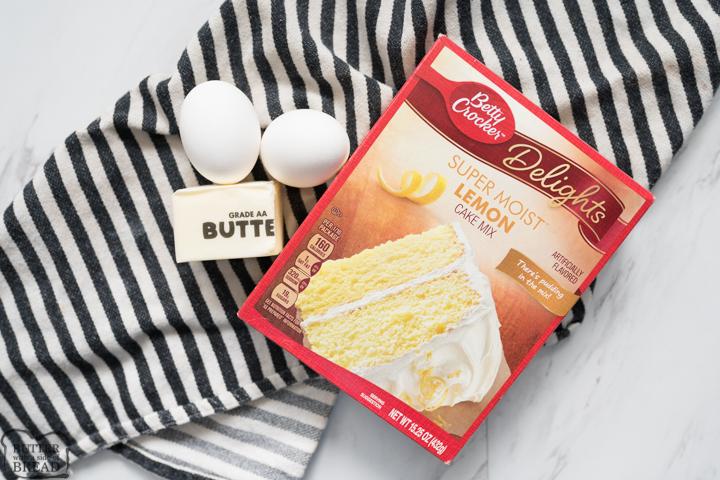 lemon cake mix, butter, two eggs