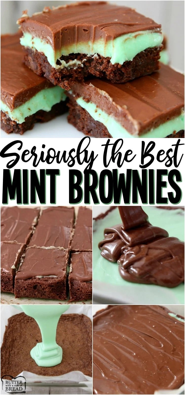 Best Mint Brownie Recipe made easy & baked to fudgy, chocolate perfection! The double layer of mint & chocolate frosting is incredible. Perfect for St. Patrick's Day dessert! #mint #brownies #baking #chocolate #fudge #dessert #green #StPatricksDay