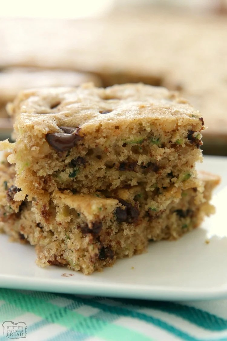 Chocolate Chip Zucchini Bars made with ripe zucchini and has all the zucchini bread flavors! One of my favorite easy zucchini recipes; these bars are a real crowd pleaser!