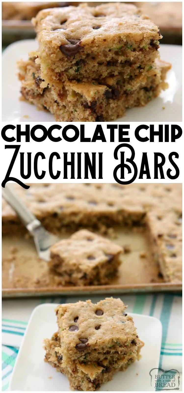 Chocolate Chip Zucchini Bars made with ripe zucchini and has all the zucchini bread flavors! One of my favorite easy zucchini recipes; these bars are a real crowd pleaser! #zucchini #quickbread #cake #baking #chocolatechip #recipe #snack from BUTTER WITH A SIDE OF BREAD