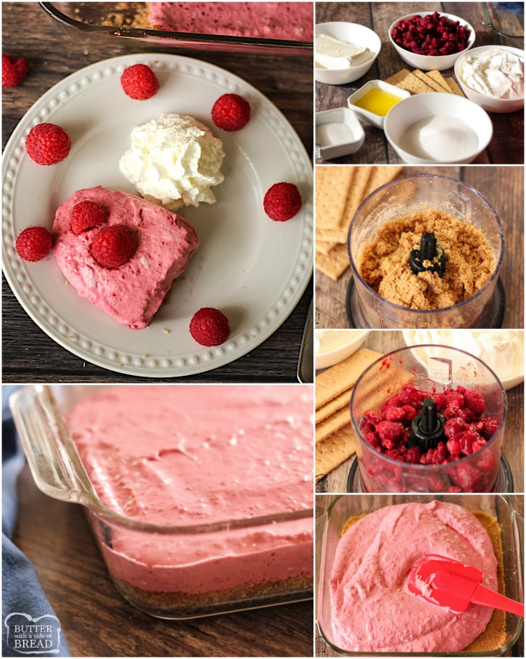 Frozen Raspberry Cheesecake Bars are a simple dessert made by combining cheesecake & raspberries. Sweet, creamy and delicious no-bake raspberry cheesecake recipe can be made ahead and comes together quick.