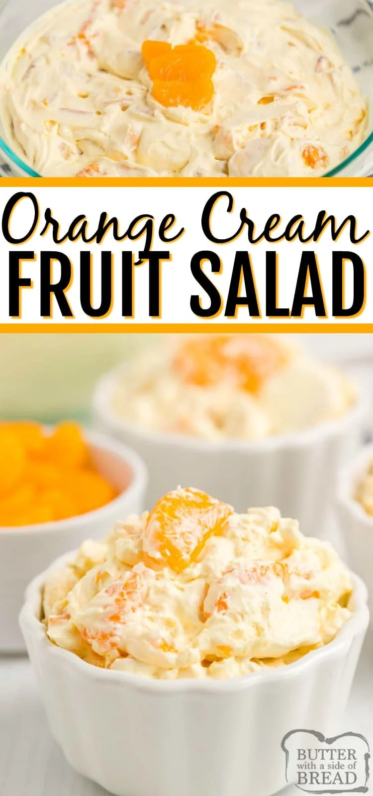 Orange Cream Fruit Salad is a delicious fruit salad filled with oranges, pineapple and bananas with a sweet orange cream mixed in! Perfect fruit salad recipe to go alongside holiday dinner.