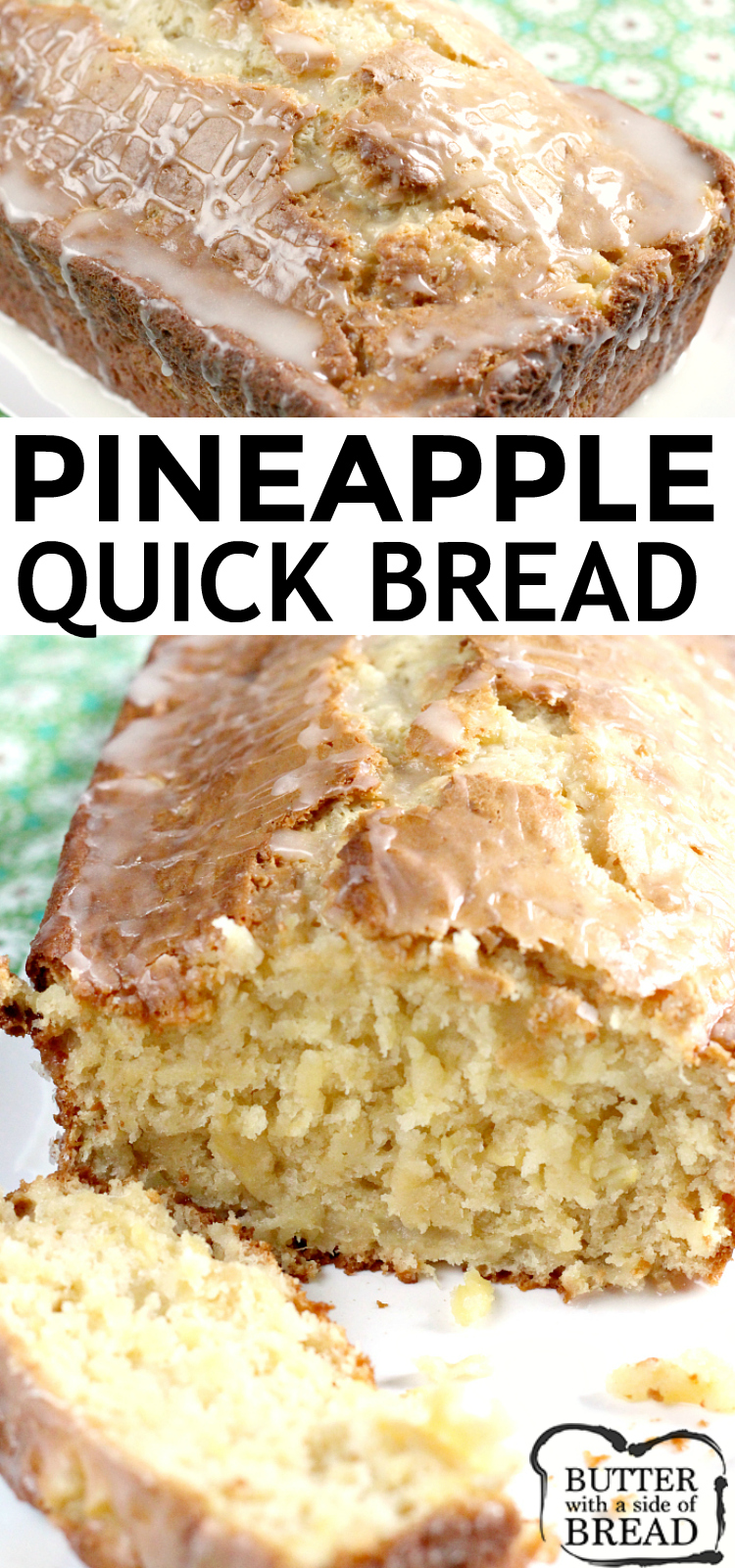 Pineapple Quick Bread is sweet, moist and absolutely delicious, especially with a simple pineapple glaze on top! This quick bread recipe is made with crushed pineapple, cream cheese, sour cream and a few other basic ingredients.