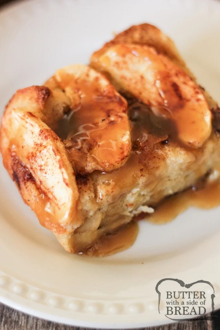Caramel Apple Bread Pudding is a delicious dish made from sliced apples and bread combined with a spiced custard, baked and drizzled with caramel syrup. Lovely apple bread pudding recipe that everyone devours!