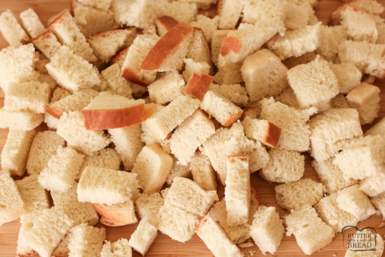 Pieces of cubed sandwich bread