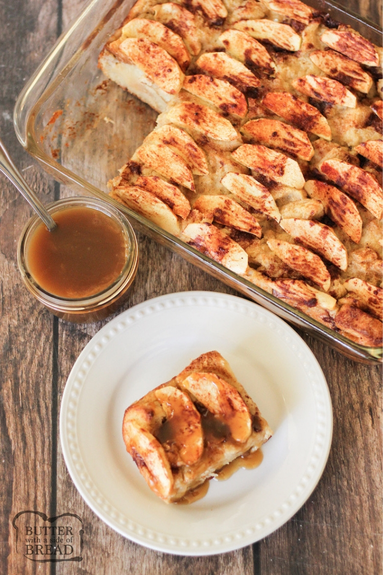 Top view of sliced bread pudding with caramel sauce