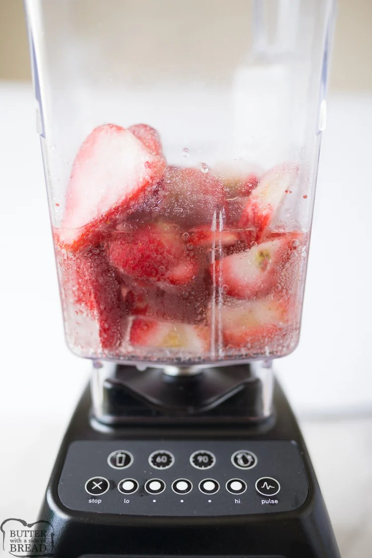 sprite and frozen strawberries in a blender.