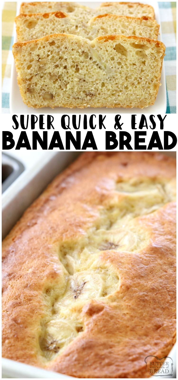 Easy Banana Bread is the simplest homemade banana bread recipe ever! Made with ripe bananas, a cake mix & 2 other simple ingredients. #banana #bread #quickbread #baking #recipe from BUTTER WITH A SIDE OF BREAD