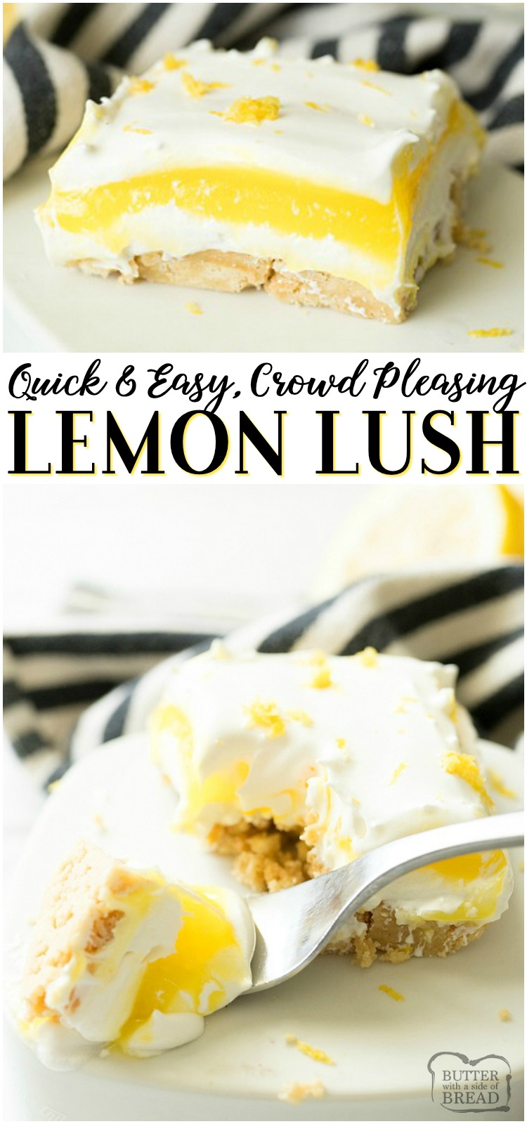 Lemon Lush Dessert made from lemon pudding mix, cream cheese, whipped topping and golden Oreos. Easy to make no-bake lemon lush dessert perfect for summer get togethers! #lemon #lemonlush #dessert #nobake #recipe from BUTTER WITH A SIDE OF BREAD