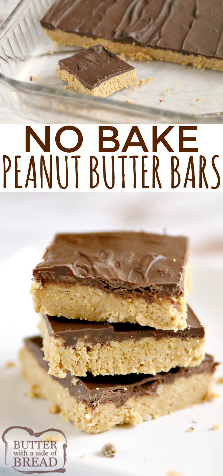 No Bake Peanut Butter Bars are made with only five ingredients and they taste like Reese's Peanut Butter Cups! Chocolate and peanut butter come together in this delicious no bake dessert recipe.