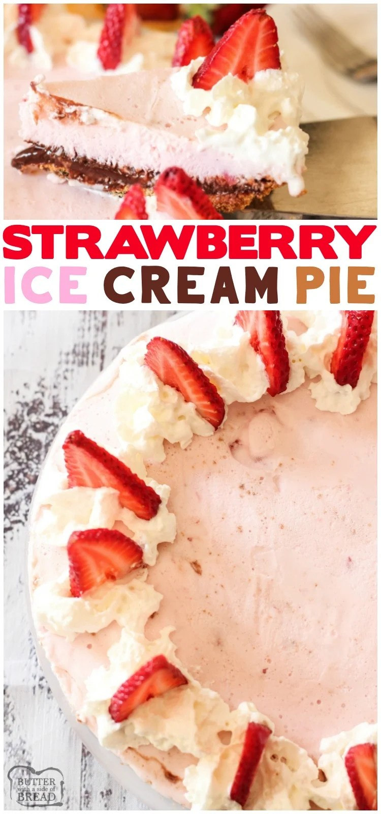 Strawberry Ice Cream Pie is a simple dessert made with a graham cracker crust, hot fudge and strawberry ice cream. This ice cream pie recipe comes together quick with just a few ingredients.