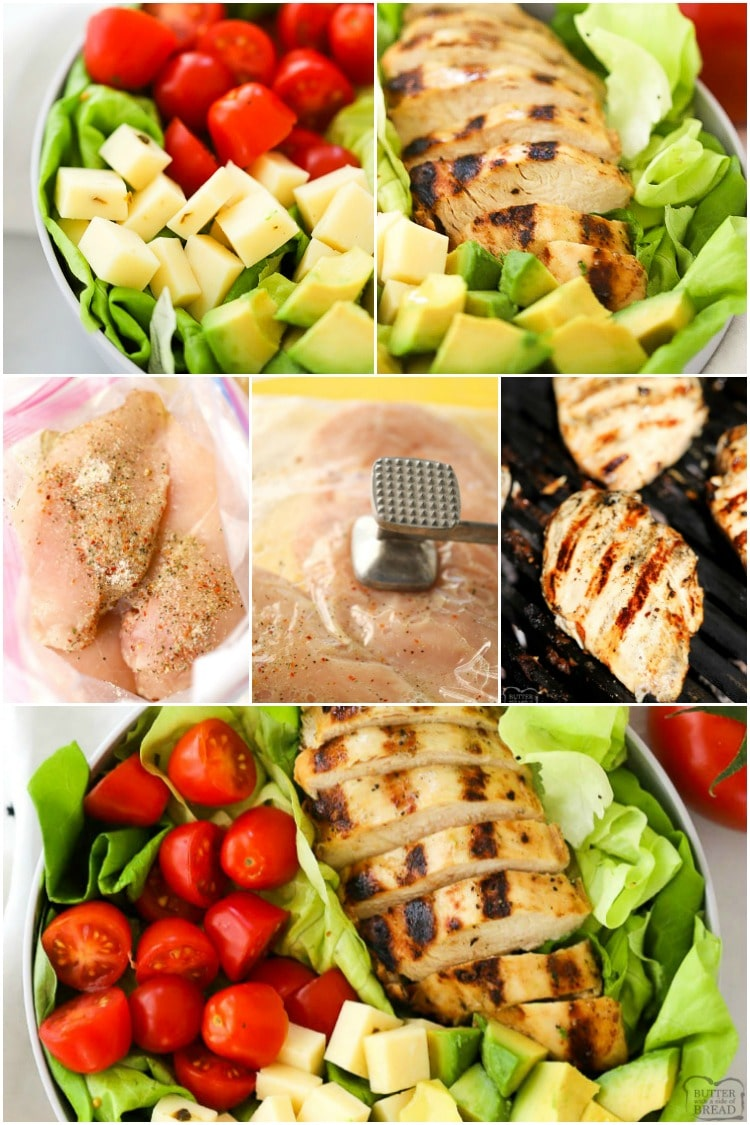 This Grilled Chicken Salad Recipe with Pesto Ranch Dressing is a quick and easy grilled chicken salad recipe.  It includes a simple grilled chicken marinade recipe that makes the most tender and juicy grilled chicken and a delicious pesto ranch dressing everyone will love.  #grilledchicken #salad #healthydinner #recipefrom Butter With a Side of Bread