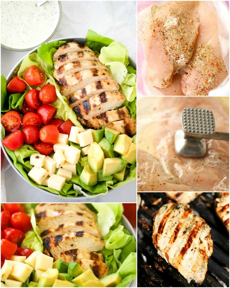How to make Grilled Chicken Salad with pesto dressing. This Grilled Chicken Salad Recipe with Pesto Ranch Dressing is a quick and easy grilled chicken salad recipe.  It includes a simple grilled chicken marinade recipe that makes the most tender and juicy grilled chicken and a delicious pesto ranch dressing everyone will love.