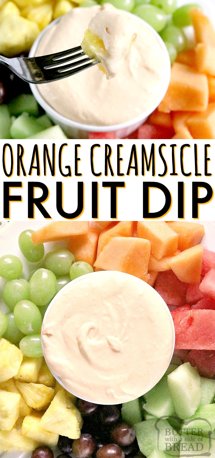 Orange Creamsicle Fruit Dip is sweet, delicious and bursting with orange flavor! This fruit dip recipe is very simple with only 3 ingredients, and it tastes amazing with all of your favorite fruits!