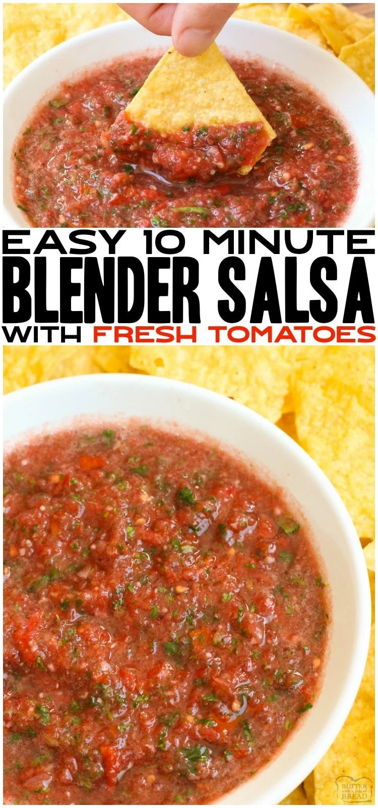 Fresh Blender Salsa made with tomatoes, cilantro, onion and lime juice made super fast in a blender! Better than restaurant homemade salsa recipe with amazing fresh flavor everyone loves.