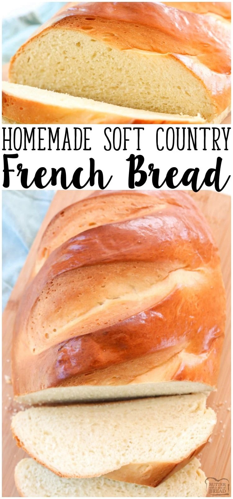 Country French Bread recipe made with simple ingredients & detailed instructions showing how to make bread! Done in just over an hour and is a showstopper!