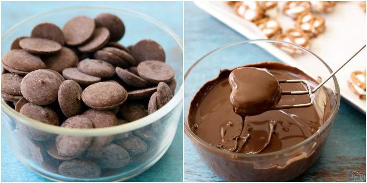 how to melt chocolate in the microwave for chocolate covered pretzels