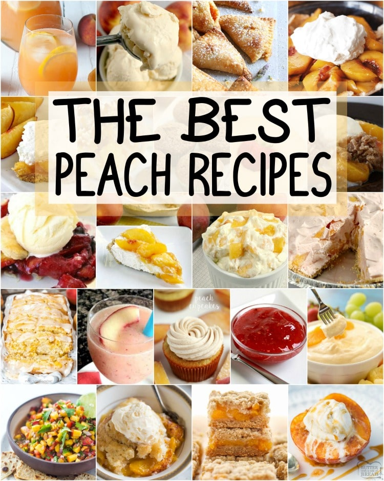 The VERY best peach recipes ever! Everything from Peach cobbler and peach crisp to peach pie and peaches & cream salad! Here's what you should make with those fresh peaches.