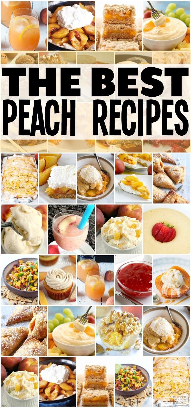 All the best peach recipes! Peach cobbler, peach crisp, peach pie, peaches and cream! All the good stuff. #peachrecipes #peachcobbler #peachcrisp #peachpie #peachesandcream #peachrecipes #recipefrom Butter With a Side of Bread
