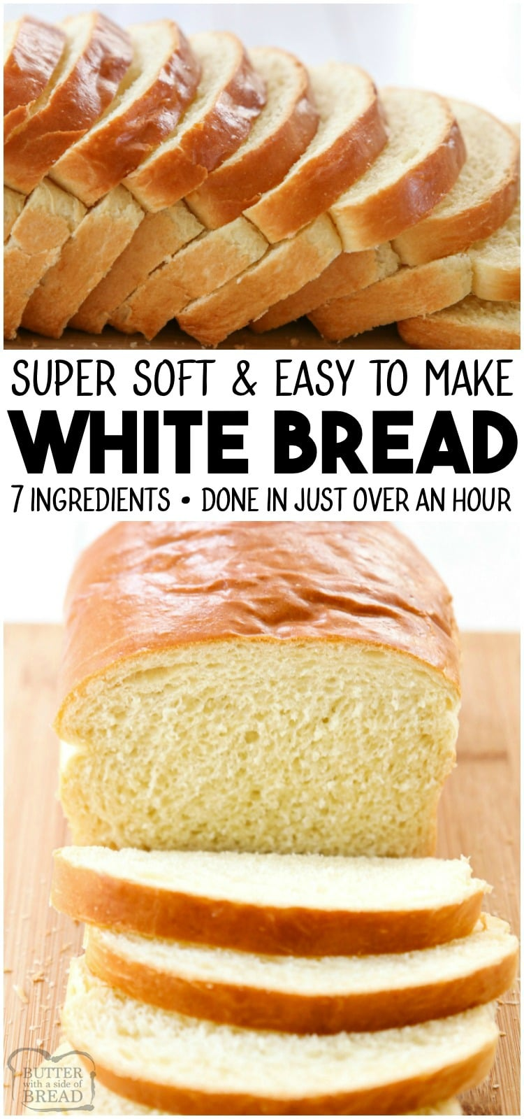 White Bread recipe made with basic ingredients & detailed instructions showing how to make bread! Done in just over an hour this recipe is one of the best soft white sandwich bread recipes. #bread #sandwich #whitebread #homemade #yeast #baking #recipe from BUTTER WITH A SIDE OF BREAD