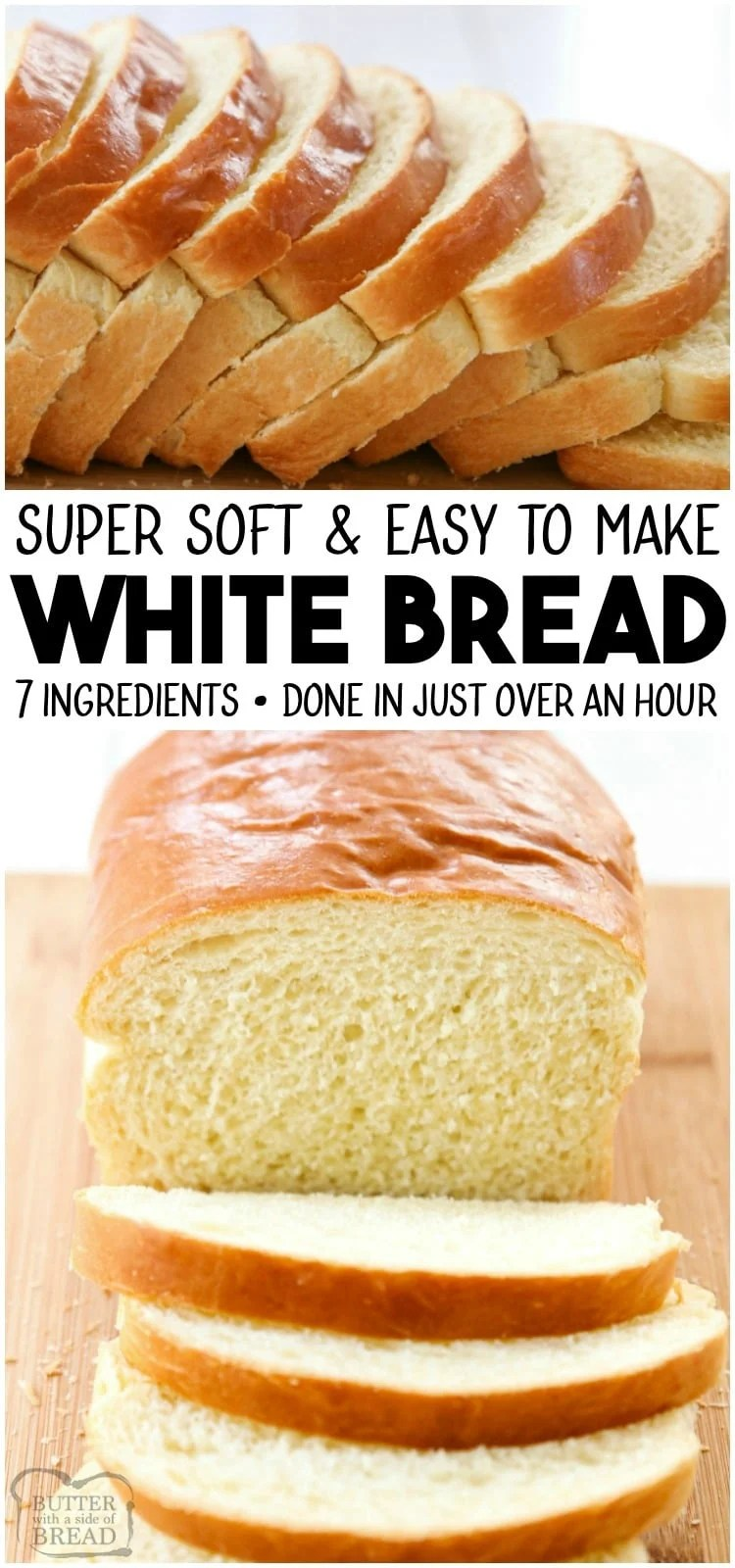 White Bread recipe is made with basic ingredients & detailed instructions showing how to make bread! Done in just over an hour this recipe is one of the best soft white sandwich bread recipes.