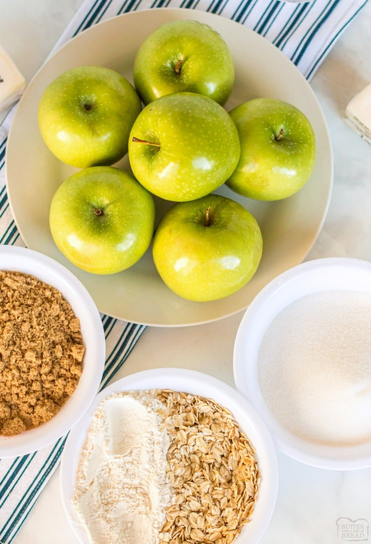 easy apple crisp recipe ingredients with oatmeal